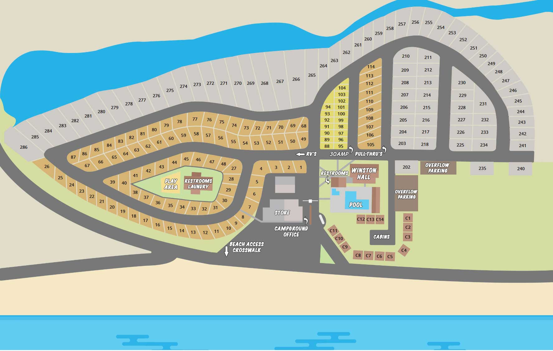 Campers Inn Park Map | Panama City Beach Camping